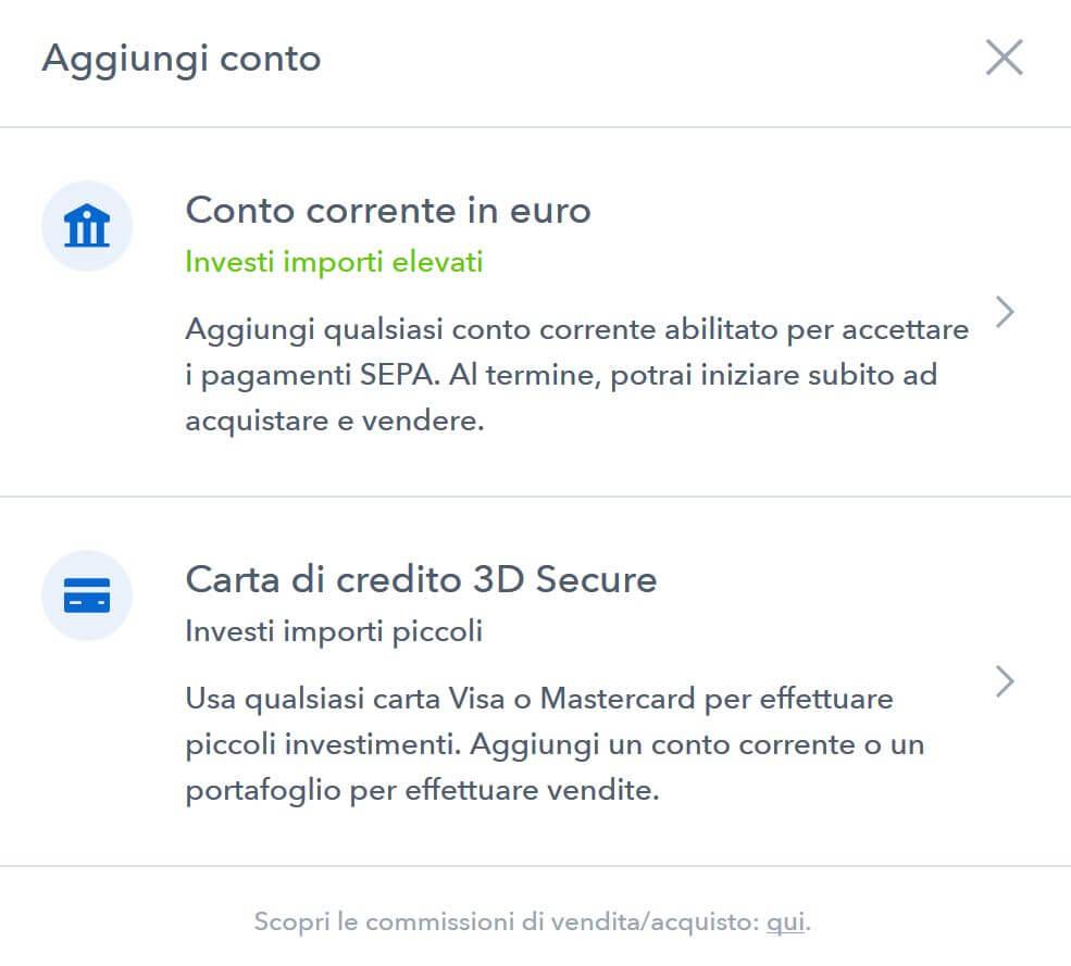 comprare bitcoin carta di credito deposito bancario